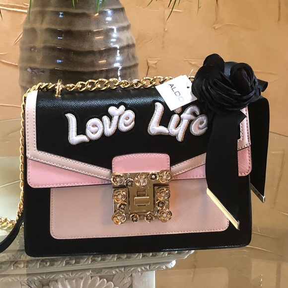 bc66bca8970 Aldo sonara love life crossbody black  pink bag